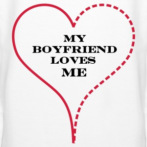 White My Boyfriend Loves Me Hoodies & Sweatshirts - Women's Premium Hoodie