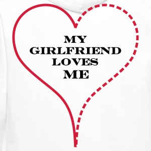 White My Girlfriend Loves Me Hoodies & Sweatshirts - Bluza męska Premium z kapturem