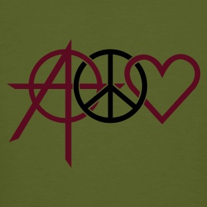Moss green anarchy peace love (2c) Men's T-Shirts - Men's Organic T-shirt