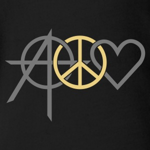 Black anarchy peace love (2c) Baby Bodysuits - Organic Short-sleeved Baby Bodysuit