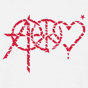 Hvid anarchy peace love (grunge, 1c) T-shirts - Herre-T-shirt