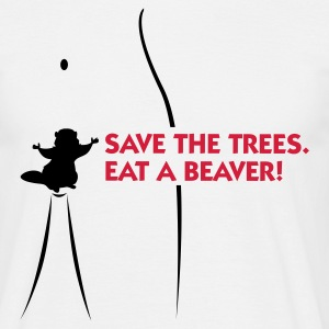Vit Save the Trees - Eat a Beaver 1 (2c) T-shirts - T-shirt herr
