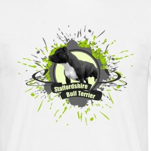 White staffbull splash bull terrier | Staffordshire Bull Terrier Men's T-Shirts - Men's T-Shirt