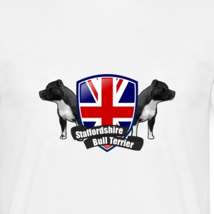 White staffbull union jack | Staffordshire Bullterrier Men's T-Shirts - Men's T-Shirt