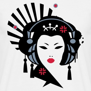 White Geisha with headphones Men's T-Shirts - Men's T-Shirt