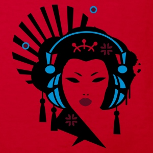 Red Geisha with headphones Kids' Shirts - Kids' Organic T-shirt
