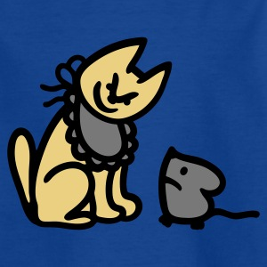 Royalblau Katze + Maus = Schmaus 3 Kinder T-Shirts - Teenager T-Shirt