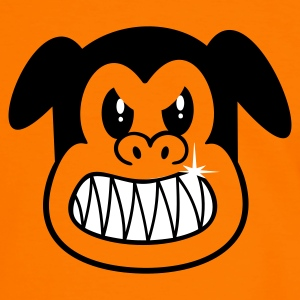 Naranja/blanco boze hond / angry dog (2c) T-shirts - Mannen contrastshirt