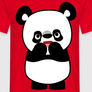 Red Shy Cute Cartoon Panda by Cheerful Madness!! Men's T-Shirts - Men's T-Shirt