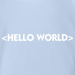 Red Hello World (1c) Baby Bodysuits - Organic Short-sleeved Baby Bodysuit