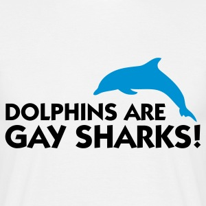 Blanc Dolphins are Gay Sharks (2c) T-shirts - T-shirt Homme