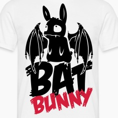 White bunny_bat_text Men's T-Shirts