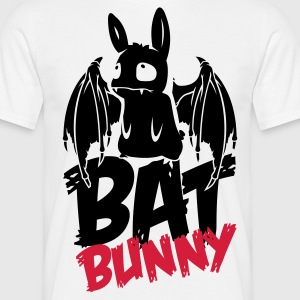 Wit bunny_bat_text T-shirts - Mannen T-shirt