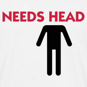 Hvid Needs Head (2c) T-shirts - Herre-T-shirt