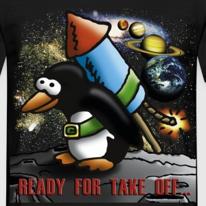 rocket_pinguin_a T-shirts - Herre-T-shirt