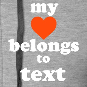 :: my heart belongs to + text :-: - Rozpinana bluza męska z kapturem Premium