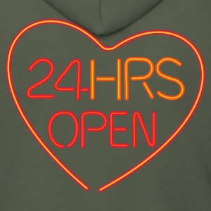 Neon: 24 HRS open heart  - Men's Premium Hooded Jacket
