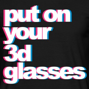 Zwart 3D Glasses T-shirts - Mannen T-shirt