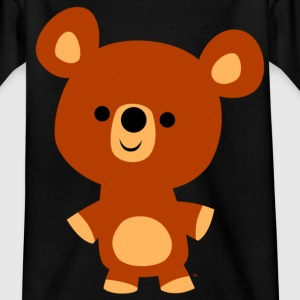 Black Cute Friendly Cartoon Bear Cub by Cheerful Madness!! Kids' Shirts - Teenage T-shirt