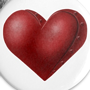 White Robot Heart Buttons - Buttons small 25 mm