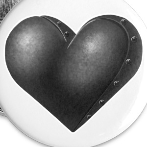 White Grey Robot Heart Buttons - Buttons large 56 mm