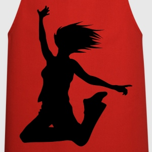 Red silhouette woman jump  Aprons - Cooking Apron