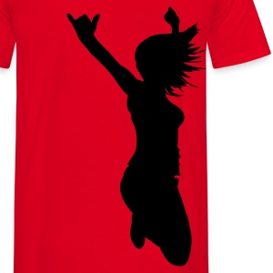 Red silhouette woman pose Men's T-Shirts - T-shirt herr
