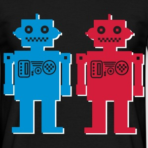 Black retro robot couple Men's T-Shirts - Men's T-Shirt
