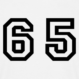 White Number - 65 - Sixty Five Men's T-Shirts - Men's T-Shirt