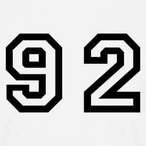 White Number - 92 - Ninety Two Men's T-Shirts - Men's T-Shirt