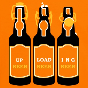 Orange/svart uploading beer (3c) T-shirts - Kontrast-T-shirt herr
