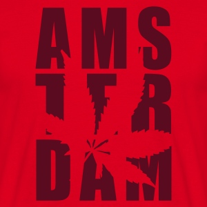Red Amsterdam Weed Typo Men's T-Shirts - Men's T-Shirt