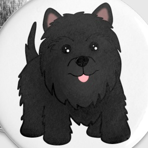 Cute Black Scottish Terrier Puppy Dog - Buttons large 56 mm