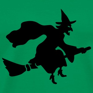 Grass green Flying Witch T-Shirts - Men's Premium T-Shirt
