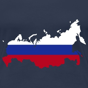 Marineblå Russia flag map Damer - Dame premium T-shirt
