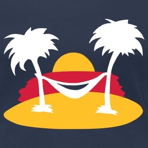 Marineblå summer palms sea Damer - Dame premium T-shirt