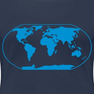 Navy World Map Ladies' - Women's Premium T-Shirt