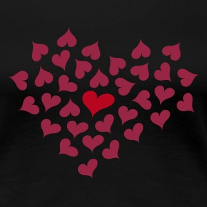 Sort Hearts in Heart T-shirts - Dame premium T-shirt