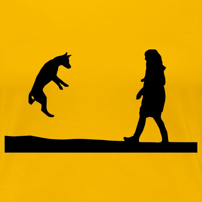 Womens Tee with Dog and Girl Playing Print
