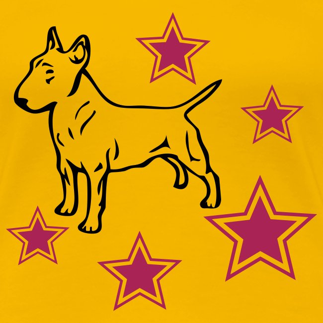Womens Tee with Bull Terrier and stars Print