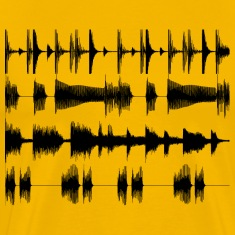 Yellow Black waveforms Men's Tees