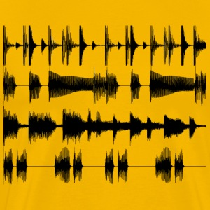 Yellow Black waveforms Men's Tees - Men's Premium T-Shirt
