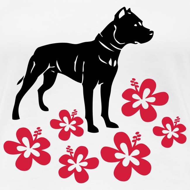 Womens Tee with American Pitbull and Flowers Print