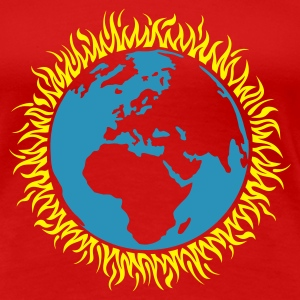 Rot earth_burning_2col T-Shirts - Frauen Premium T-Shirt