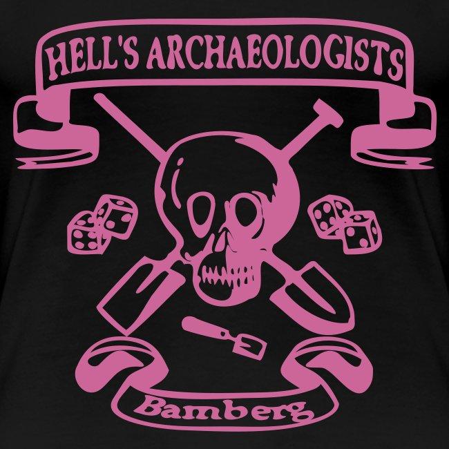 Girlie - Shirt mit dem Hells Archaeologists Motiv nur vorn, pink Glitter!