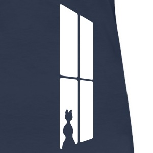 Navy Cat at a window T-shirts (korte mouw) - Vrouwen Premium T-shirt