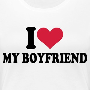 White I love my boyfriend Ladies' - Women's Premium T-Shirt
