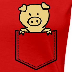 Rot Oink in Brusttasche T-Shirts - Frauen Premium T-Shirt