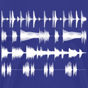 Royal blue White waveforms Men's Tees - Men's Premium T-Shirt
