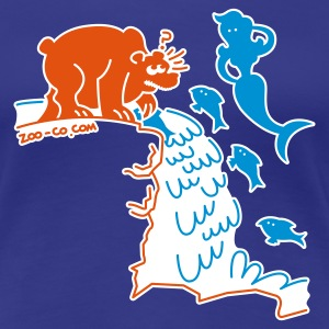 Aqua Surprised Bear Women's Tees - Women's Premium T-Shirt